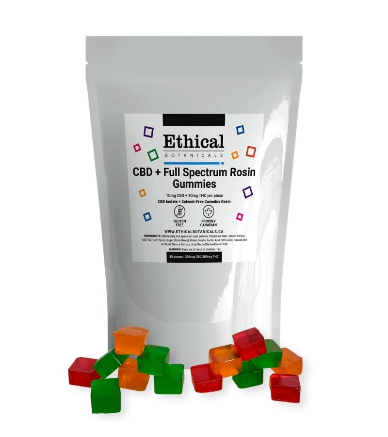 visualizes CBD + THC gummies by Ethical Botanicals product plus packaging
