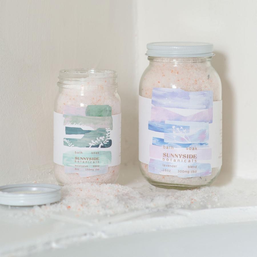 visualize cbd bath salts packaging by sunnyside botanicals