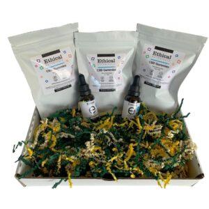 cbd oil + gummies gift basket