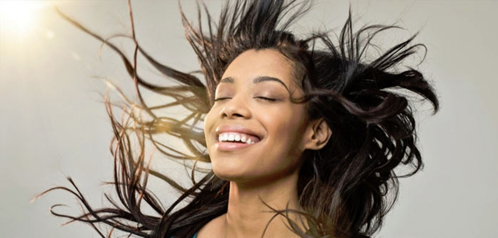 analogizes bliss with image of smiling woman