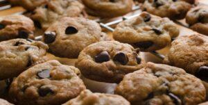 image of cbd chocolate chip cookies on rack