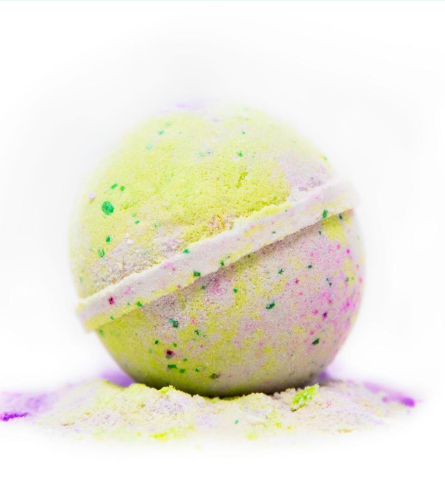 visualizes product; Lemongrass Grapefruit CBD bath bomb, HempHeal