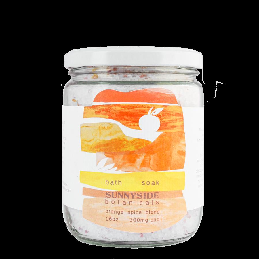 visualizes packaging of cbd bath soak, orange spice by Sunnyside Botanicals