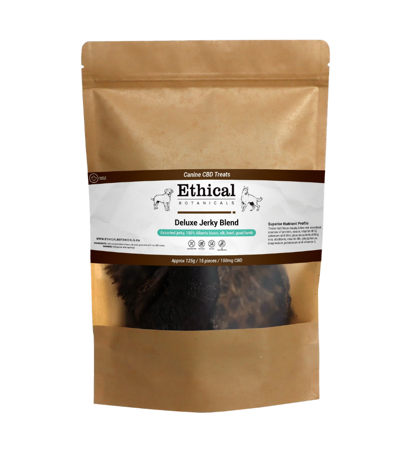 visualizes packaging of Deluxe Jerky Blend dog treats by Ethical Botanicals