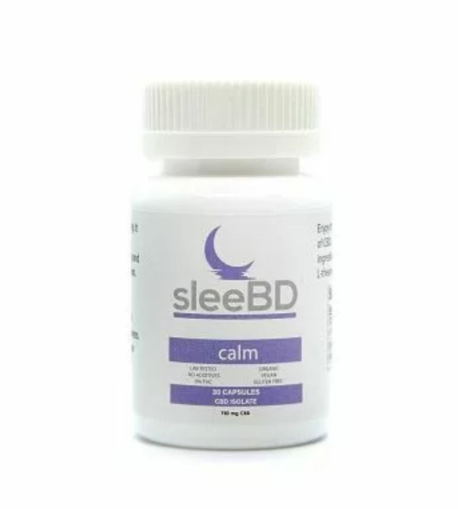 Visualizes packaging for calm sleebd capsules with cbd