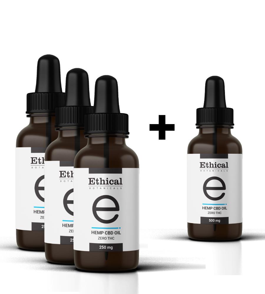 90-Day Supply Pack | Hemp CBD Oil - Zero THC | Ethical Botanicals