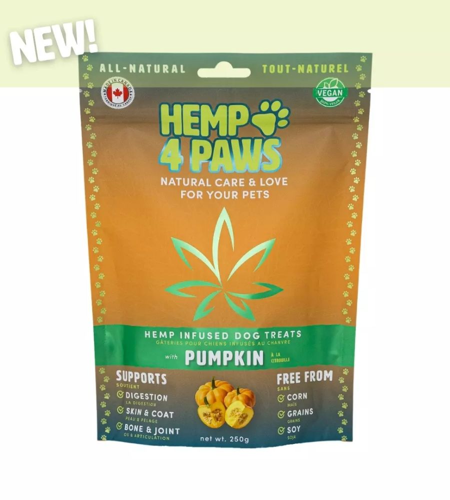 visualizes packaging of Hemp Dog Treats Pumpkin flavour by Hemp4Paws