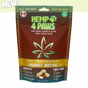 visualizes packaging of Hemp Dog Treats Peanut Butter flavour by Hemp4Paws