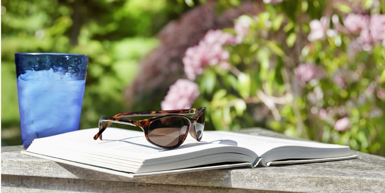 analogizes a top 5 cbd book in a patio reading setting